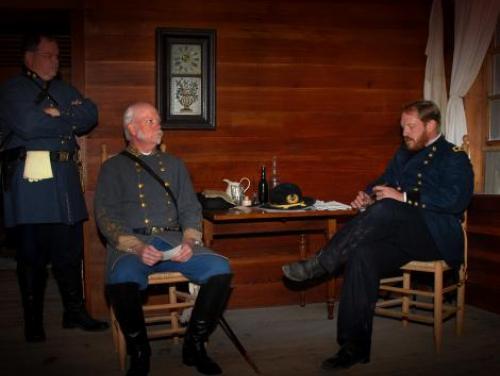 Interpreters Portraying Gen. William Sherman and Gen. Joseph Johnston Recreate the Historic Surrender Negotiations at Bennett Place in Durham