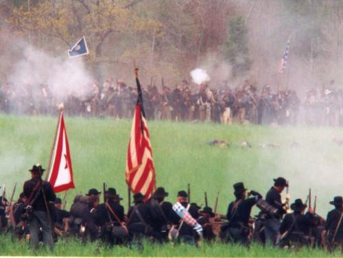 A Civil War Re-Enactment at Bentonville Battlefield in Johnston County