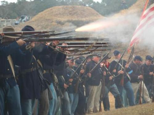 A re-enactment of the Battle of Fort Fisher in Kure Beach