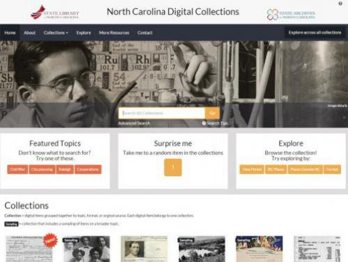 A Screenshot of the North Carolina Digital Collections