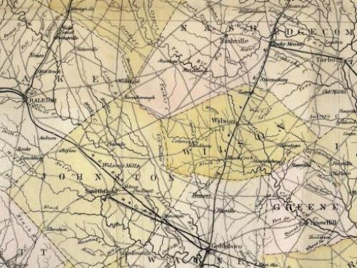 A map of east central North Carolina from the 1800s