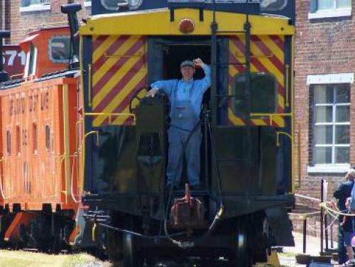 Waving from a Train at the N.C. Transportation Museum