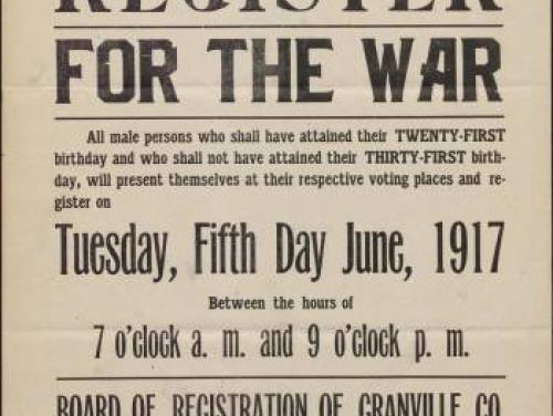 Granville County draft poster June 1917