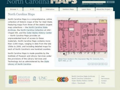A Screenshot of North Carolina Maps