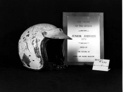 Junior Johnson's racing helmet and award