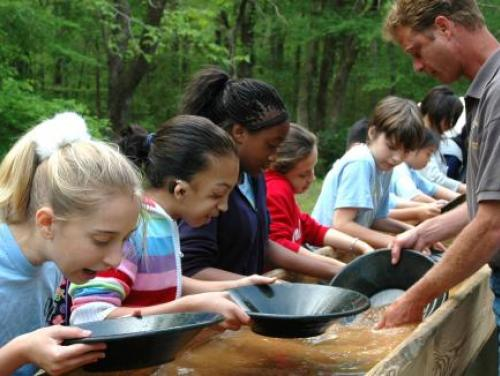 Panning for gold at the Reed Mine