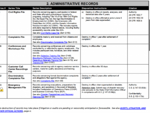 A retention schedule issued by the State Archives