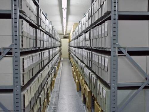 A row of stacks at the State Archives of North Carolina