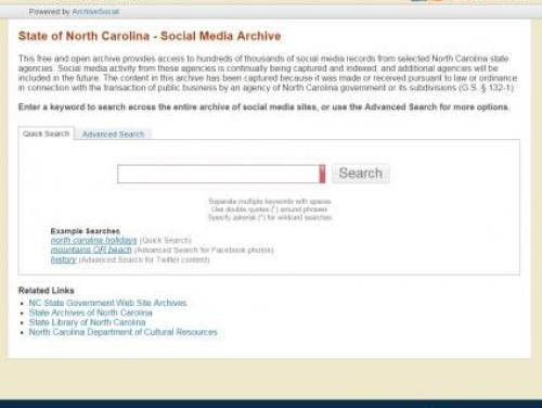 The State Government Social Media Archive Home Page