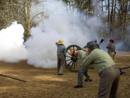 A Cannon Blasts at the Bentonville Battlefield