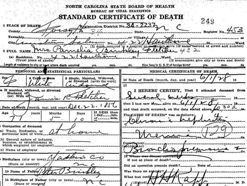 A 1928 North Carolina Death Certificate