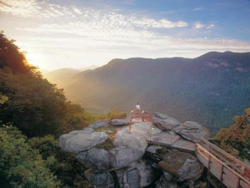 Chimney Rock State Park at sunset