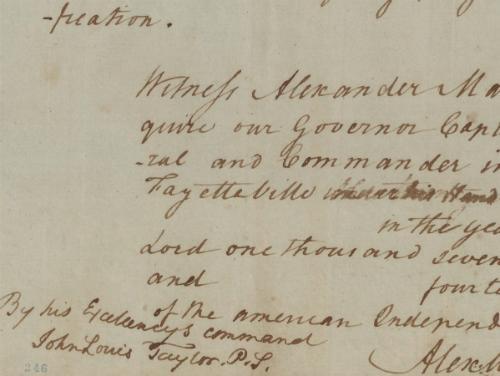A Revolutionary War era letter from Gov. Alexander Martin