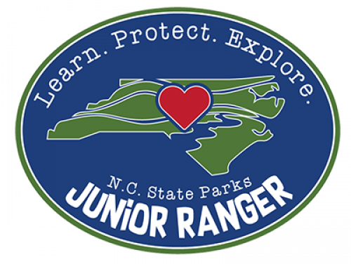 oval image showing state of NC with heart in middle and Junior Ranger below