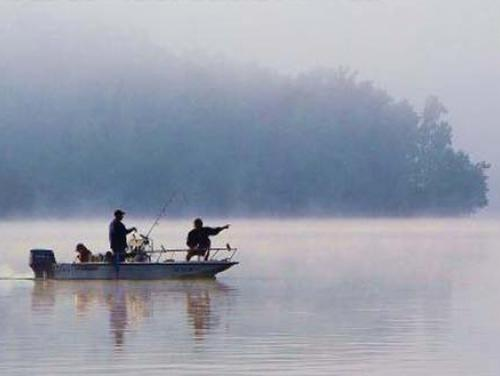 Fishing in the mist at Kerr Lake State Recreation Area