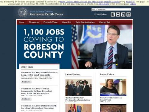 A screenshot from the archived website of Governor Pat McCrory