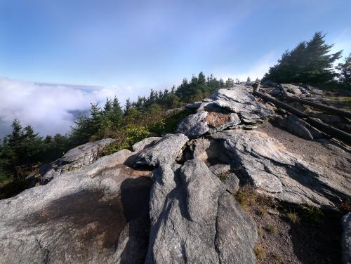 The jagged terrain at Mount Craig at Mount Mitchell State Park