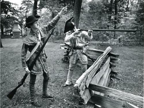 Revolutionary War re-enactors at Moore's Creek Bridge near Wilmington