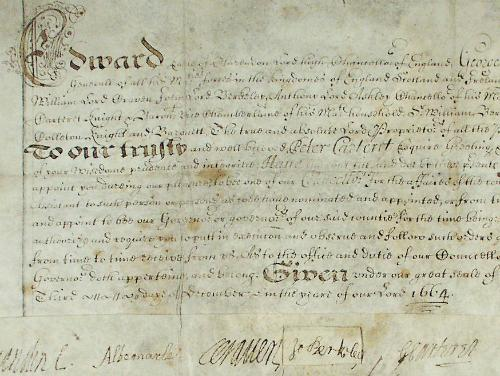 A document issued by the Lords Propreitors