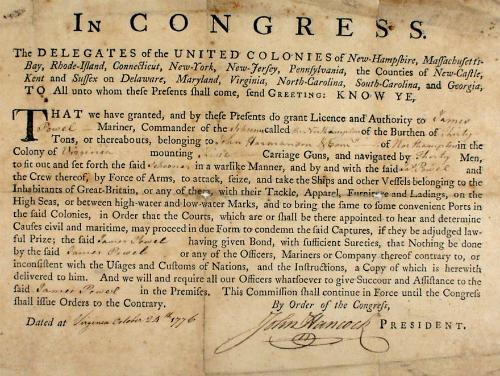 A Letter of Marque from Congress signed by John Hancock