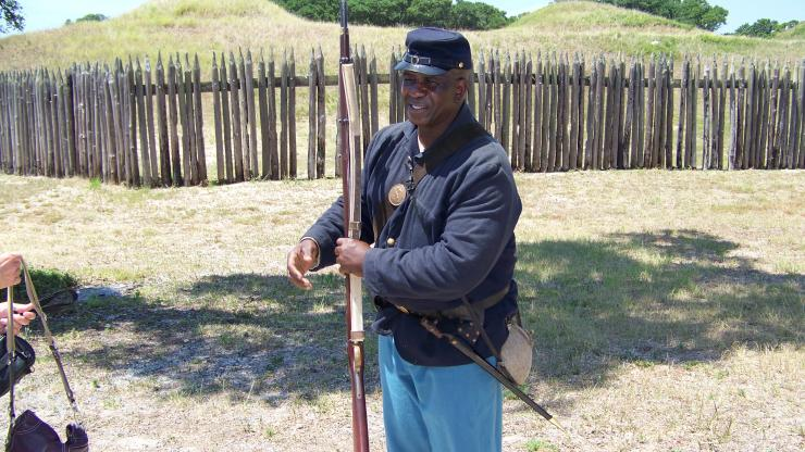 USCT re-enactor at Fort Fisher.