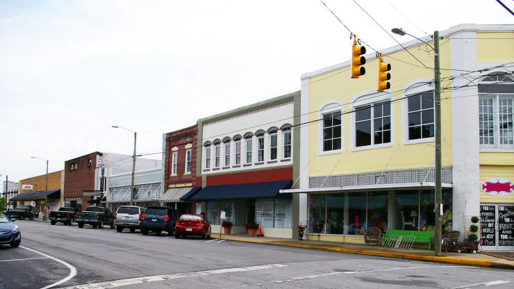 A view of Belhaven's Commercial Historic District in Beaufort County