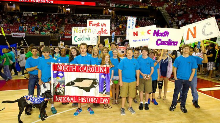 Students show their North Carolina pride at the 2013 National History Day contest. Image courtesy Patrick Schneider Photography.