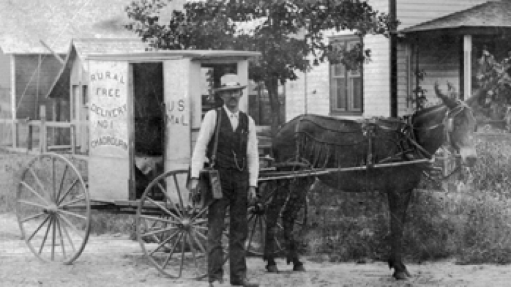 A Rural Free Delivery mail carrier at Chadbourn, early 1900s. Image from the North Carolina Collection at UNC-Chapel Hill.