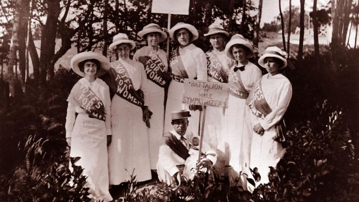 Suffragettes, including Gertrude Weil, far left, circa 1920