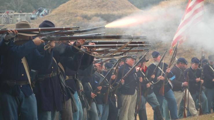 Civil War re-enactors at the 145th anniversary of the Battle of Fort Fisher