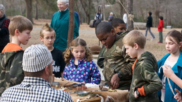 Children learn about colonial trades at Brunswick Town/Ft. Anderson