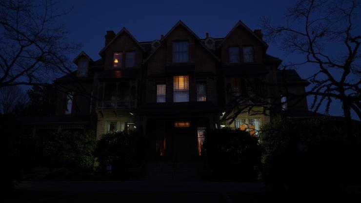 Executive Mansion illuminated in amber