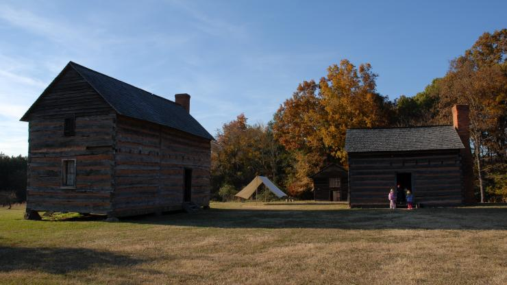 A reconstructed log cabin, similar to one that young James K. Polk would have lived in, at the Pres. James K. Polk State Historic Site near Pineville.