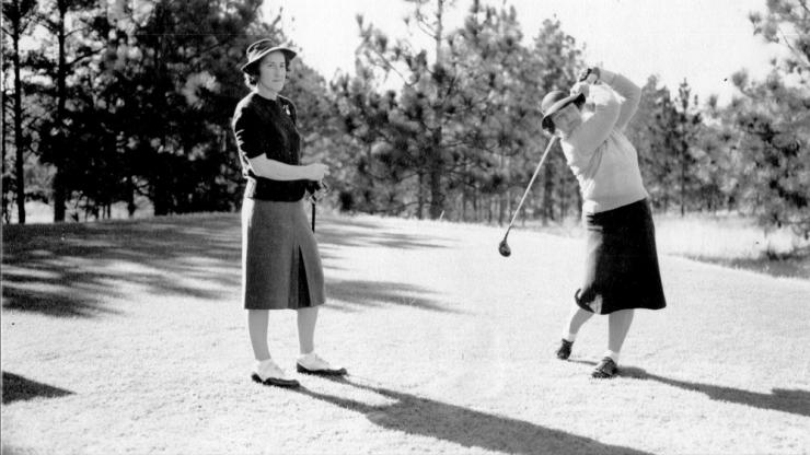 Estelle Lawson Page tees off during the 1941 Women's North & South Amateur tournament in Pinehurst.