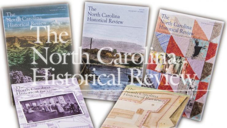 "Covers of recently published issues of the ""North Carolina Historical Review"""