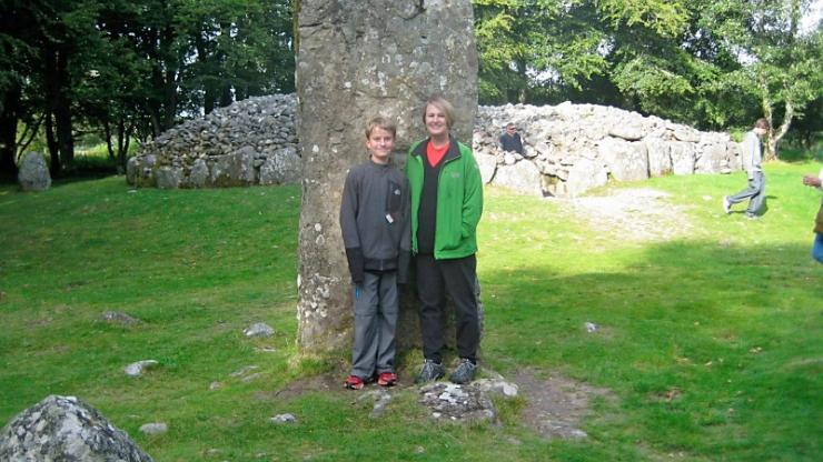The North Carolina Time Traveler and her son at the Clava Cairns near Inverness