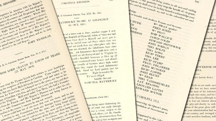 Pages from the digitized version of the Colonial and State Records of North Carolina