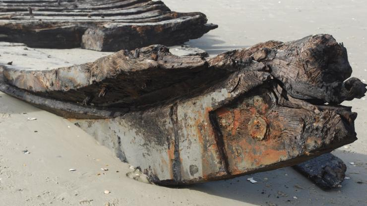 Pieces of the recently discovered Corolla shipwreck
