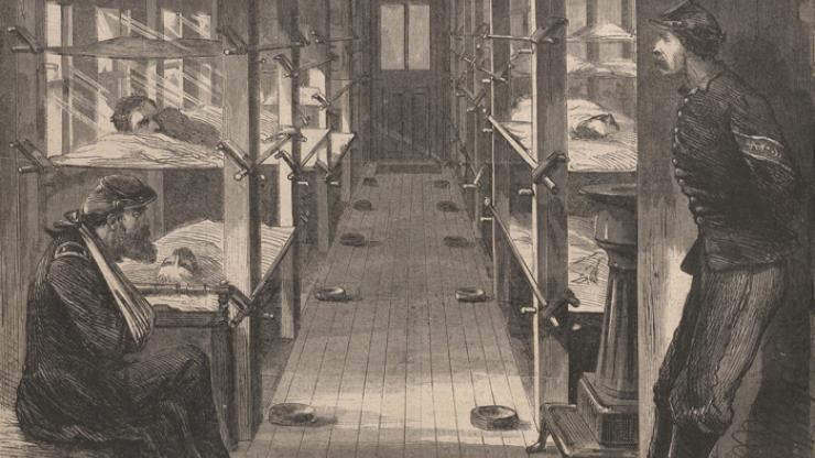 An illustration of a Civil War hospital car from Harper's Weekly in 1864.