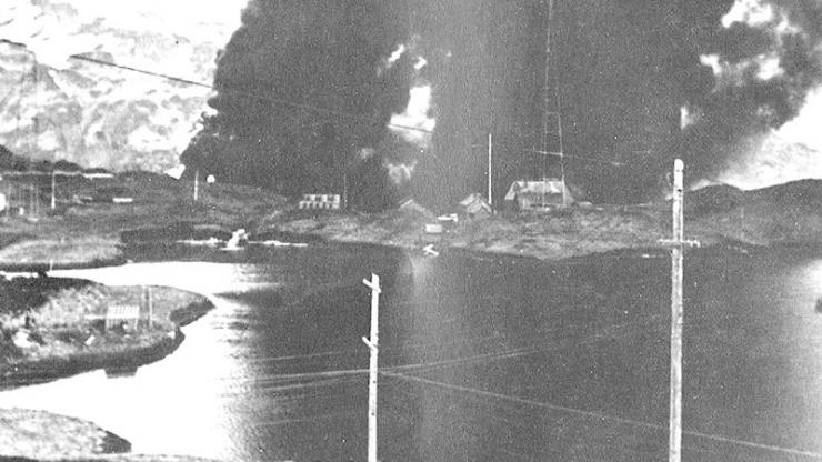 The Japanese attack a Navy radio station in the Aleutian Islands