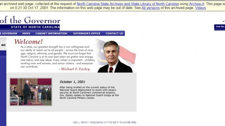 A screenshot from the Governor's Office website in 2001