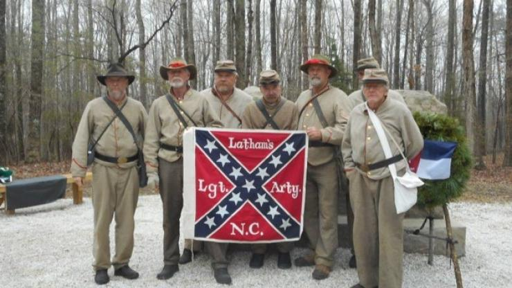 Members of the Latham's Battery re-enacting group in the front of the North Carolina Monument at Appomattox Court House