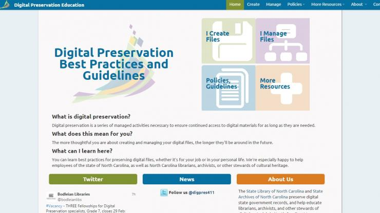 A screenshot of the State Library/State Archives website highlighting digital preservation efforts