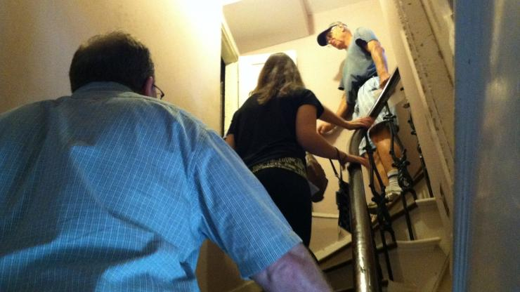 Climbing to the attic on the State Capitol tour