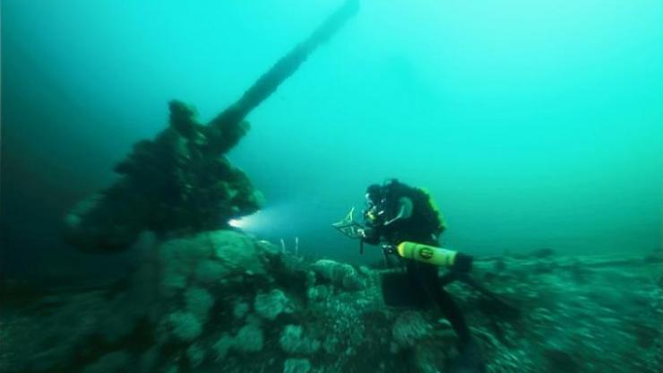 A diver explores the U-85 wreck