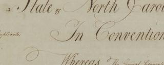 The top portion of the North Carolina Constitution of 1789