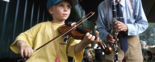 Boy Fiddling Along the Blue Ridge Music Trails