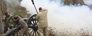 A Civil War cannon blast at Brunswick Town/Fort Anderson