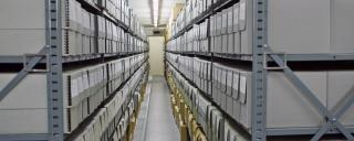 The stacks at the State Records Center, part of the State Archives of North Carolina