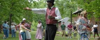 Jonkonnu performers from Tryon Palace at Historic Stagville in Durham
